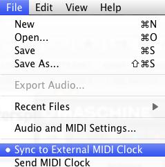 External MIDI Clock